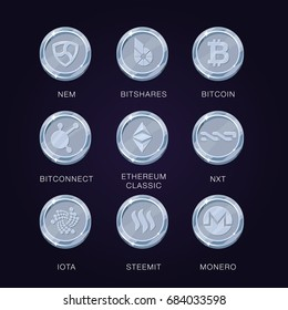 Crypto currency icons coin. Set of digital money for apps, websites or logo. Realistic vector illustrations. NEM, Bitcoin, Bitshares, Bitconnect, Ethereum Classic, NXT, Iota, Steemit, Monero.