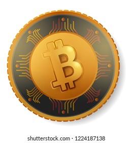 Crypto currency logo gold, silver, bronze coin: Bitcoin, Litecoin, Augur, Monero, Nem, Ethereum, Dash, Stratis, Ripple. Crypto currency coin vector. Crypto currency logo