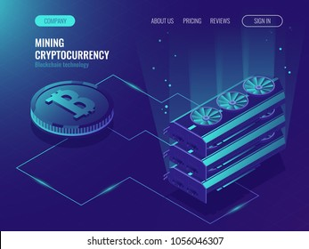 Crypto currency mining farm server.   Blockchain isometric, big data processing, server room rack, data center, mainframe Isometric vector ultraviolet