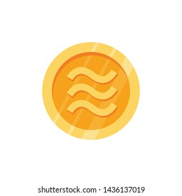 Crypto currency money coin Libra. Icon gold coin libra.  Illustration of blockchain money coin currency libra in flat minimal style in white background. - vector