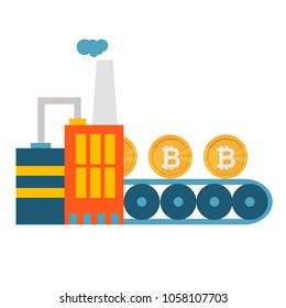 Crypto Currency Production Bitcon Mining Conveyor Technology Modern Web Money Concept Vector Illustration