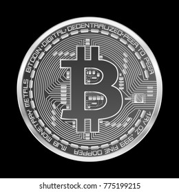 Crypto currency silver coin with silver bitcoin symbol on obverse isolated on black background. Vector illustration. Use for logos, print products, page and web decor or other design.