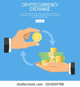 Crypto Currency Technology Concept. Cryptocurrency Bitcoin Exchange. Isolated vector illustration
