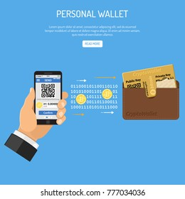 Crypto currency technology concept. Hand holds mobile phone with cryptocurrency bitcoin for trading, buying, selling, mining bitcoins and transfer to personal wallet. Isolated vector illustration.