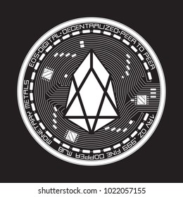 Crypto currency white coin with black lackered eos symbol on obverse isolated on black background. Vector illustration. Use for logos, print products, page and web decor or other design.