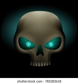 Crypto hacker skull with bitcoin blue binary code eyes on dark background. Cyber crime hacking illustration. Money security crypto currency hack attack
