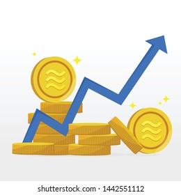 Crypto Libra currency money coin . Icon gold coin libra. Illustration money coin currency libra - Vector