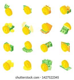 Crypto money icons set. Isometric set of 16 crypto money vector icons for web isolated on white background