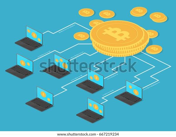 Crypto Money Net Banking Bitcoin Mining Stock Vector (Royalty Free