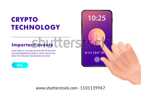 Crypto Online Commerce Mining Bitcoin Technology Stock Vector