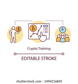 Crypto training concept icon. Bitcoin course idea thin line illustration. Finance conference. Cryptocurrency trading teaching. Blockchain course. Vector isolated outline drawing. Editable stroke