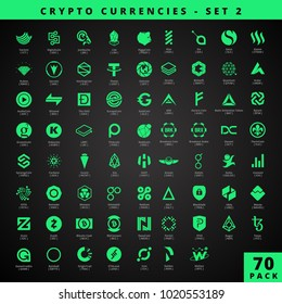 Cryptocoins, Cryptocurrencies - 70 Pack - Neon Green Style