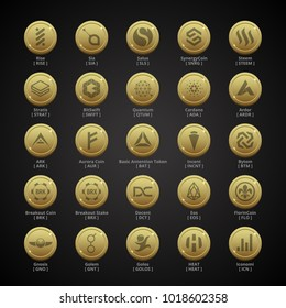 Cryptocoins, Cryptocurrencies - SET 5 - Golden Style