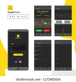 Cryptocurrencies trading, and exchange UI or UX concept for Mobile Apps.