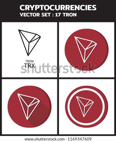 Cryptocurrencies Vector Set 17 TRON TRX Stock Vector (Royalty Free