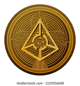 cryptocurrency augur coin with circuit lines