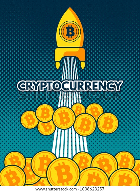 Cryptocurrency Background Illustration Bitcoin Moon Crypto