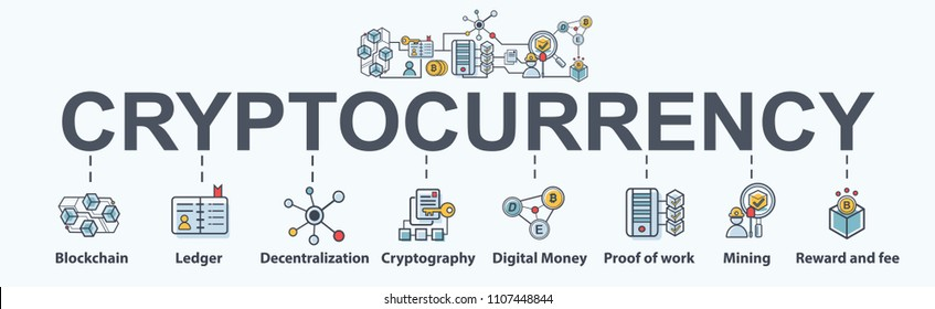 Cryptocurrency banner web icon set, blockchain, Ledger, decentralization, cryptography, digital money, coin, mining and fee.