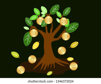 Cryptocurrency Bitcoin concept illustration btc tree. Financial growth concept. Flat design