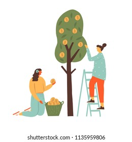Cryptocurrency Bitcoin concept illustration of two women harvesting btc from the tree. Funny flat characters in vector illustrated blockchain mining.