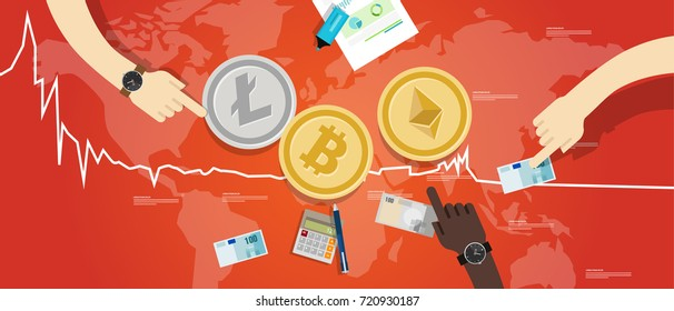 crypto-currency bitcoin ethereum litecoin price value market going down decrease chart crash