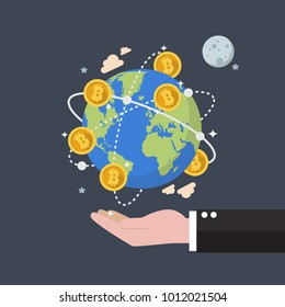 Cryptocurrency Bitcoin Global Network Technology. Businessman holding earth globe. Flat style vector illustration