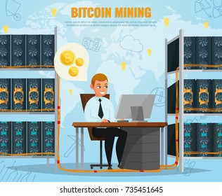 Cryptocurrency bitcoin mining concept with smiling man in front of computer cartoon vector illustration