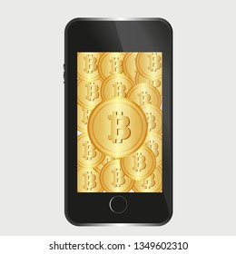 Cryptocurrency Bitcoin Money Online Mobile Phone.Internet banking concept.