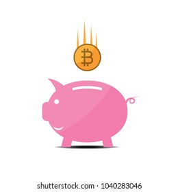 cryptocurrency bitcoin piggy bank flat design icon vector illustration