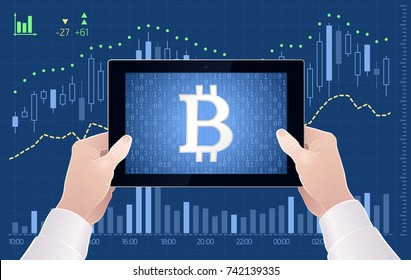 Crypto-Currency Of Bitcoin - Stock Exchange Trading Via Mobile App. Graphic illustration on the subject of 'Crypto-Currencies Stock Exchange'.