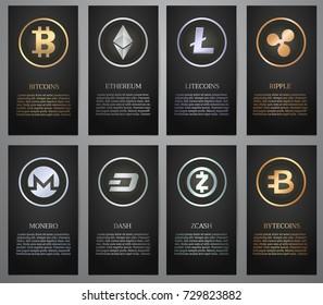 Cryptocurrency, Black banner, Vector illustration.