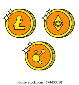 Cryptocurrency black outline gold icons bitconnect, ethereum, litecoin