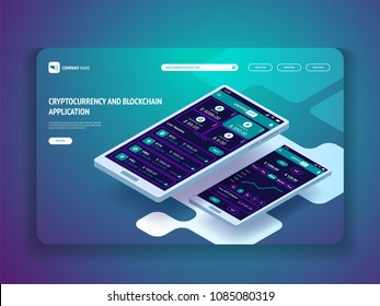 Cryptocurrency and blockchain application for smartphone. Header template for your website. Landing page. Vector isometric illustration