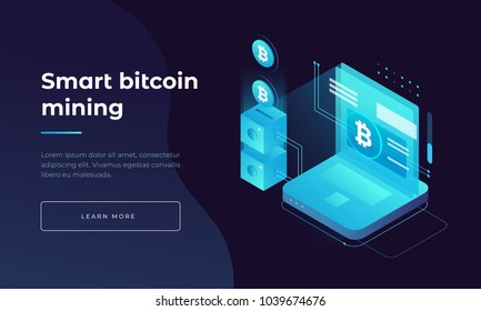 Cryptocurrency and blockchain. Bitcoin mining farm. Creating digital currency. Concept for landing page, web design, banner and presentation. 3d isometric flat design. Vector illustration.