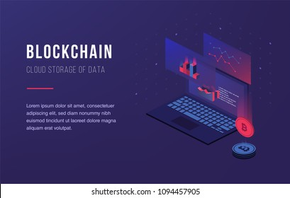 Cryptocurrency and blockchain. Bitcoin mining farm. Creating digital currency. Concept for landing page, web design, banner and presentation. 3d isometric flat design. Vector illustration