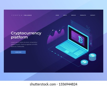 Cryptocurrency and Blockchain concept. Mining bitcoins. Digital money market, investment, finance and trading. 3D isometric design. Landing Page. Vector illustration for web banners.