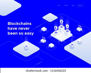 Cryptocurrency and blockchain isometric composition with coins, abstract 3d elements and computers. Isometric vector illustration.