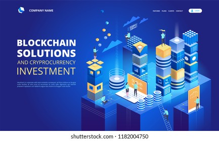 Cryptocurrency and blockchain isometric composition. Platform creation of digital currency. Web business, analytics and management. Vector illustration