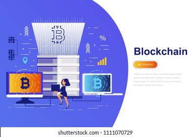 Cryptocurrency and blockchain modern flat concept web banner with decorated small people character. Landing page template. Conceptual vector illustration for web and graphic design.