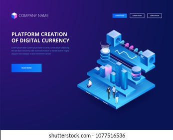 Cryptocurrency and blockchain. Platform creation of digital currency. Web business, analytics and management. Vector illustration