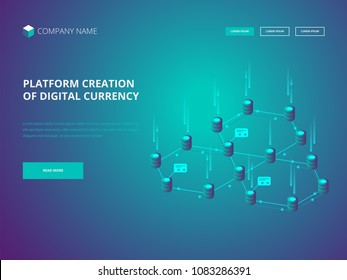Cryptocurrency and blockchain. Platform creation of digital currency. Header for Website. Business, analytics and management. Vector illustration