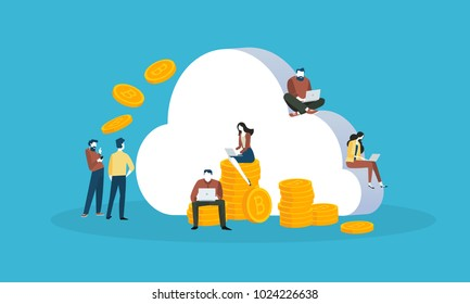 Cryptocurrency cloud mining. Flat design style web banner of blockchain technology, bitcoin, altcoins, cryptocurrency mining, finance, digital money market, cryptocoin wallet, crypto exchange.