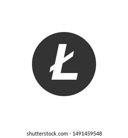 Cryptocurrency coin Litecoin LTC icon isolated. Physical bit coin. Digital currency. Altcoin symbol. Blockchain based secure crypto currency. Flat design. Vector Illustration