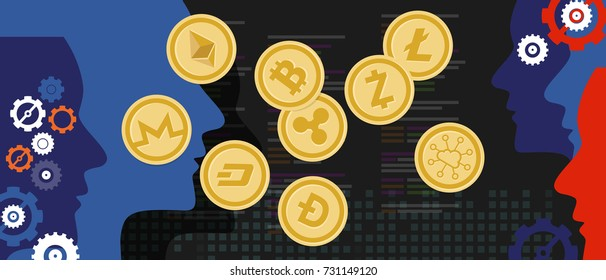 cryptocurrency coin set  bitcoin digital currency virtual money exchange finance illustration vector
