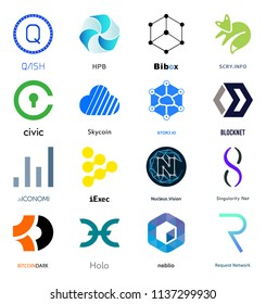 Cryptocurrency Coin Sign Vector Set Isolated