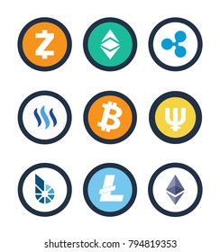 Cryptocurrency collection of different coins, popular digital assets created for secure work with money in internet, isolated on vector illustration