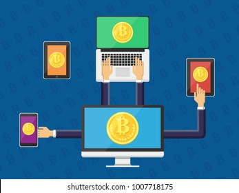 Cryptocurrency concept with businessman miner and coins. working in bitcoin mine