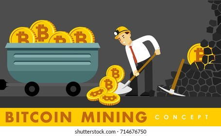 Cryptocurrency concept with businessman miner and coins. Young man with shovel and pickaxe working in bitcoin mine