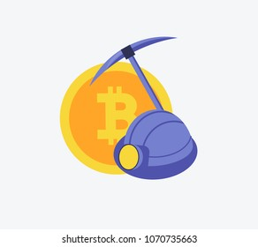 Cryptocurrency concept of mining and coins. Symbol of pick and helmet and bitcoin coin in flat design