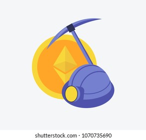 Cryptocurrency concept of mining and coins. Symbol of pick and helmet and etherium coin in flat design